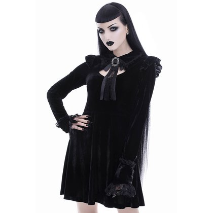 Schwarz romantisches Samtkleid Fall From Grace Killstar