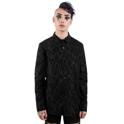 Samt Hemd Killstar Bite Me Button Up Shirt