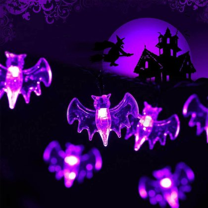 Lichterkette LED violett Fledermaus 2 Meter