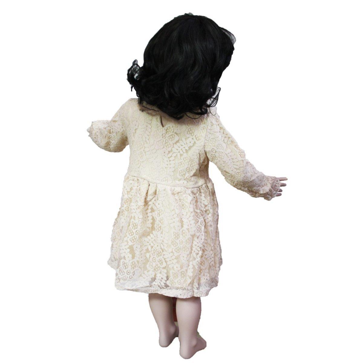 viktorianisches spitzenkleid für kinder beige